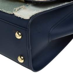 Zac Posen Blue Denim and Leather Eartha Patchwork Top Handle Bag