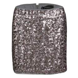 Zadig and Voltaire Grey and Pink Sequined Jasmi Pai Deluxe Jupe Mini Skirt S