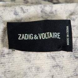 Zadig and Voltaire Cream Scull Printed Joss Linen Knit Tank Top L