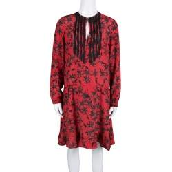 Zadig and Voltaire Red Remus Print Silk Ruffled Bottom Dress S