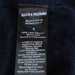 Zadig & Voltaire Navy Blue Merino Wool Nina Star Cardigan S