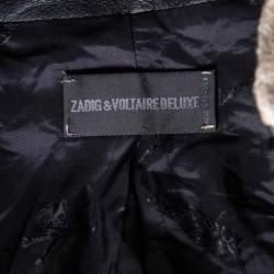 Zadig and Voltaire Beige Lurex Detail Leather Trim Detail Victana Deluxe Blazer M