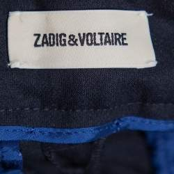 Zadig & Voltaire Navy Blue Cady Pruna Strass Trousers M