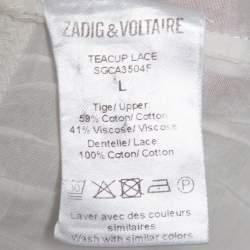 Zadig & Voltaire White Cotton Voile Teacup Lace Top L