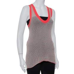 Zadig & Voltaire Pink Striped Knit Joss Fishnet Tank Top S