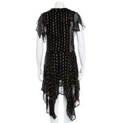 Zadig&Voltaire Noir Crepe Lurex Detail Rool Shiny Asymmetric Hem Dress M