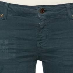 Zadig & Voltaire Green Denim Distressed patch Detail Jeans S