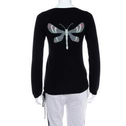 Zadig&Voltaire Black Cashmere Butterfly Jacquard Detail Sweater XS