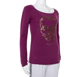 Zadig & Voltaire Luxe Purple Cashmere Sequin Embellished Skull Detail Sweater S