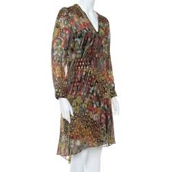 Zadig & Voltaire Green Printed Fil Coupe Faux Wrap Asymmetric Hem Roumi Deluxe Dress S