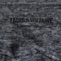 Zadig & Voltaire Grey Wool Winter Fringes Mini Dress S