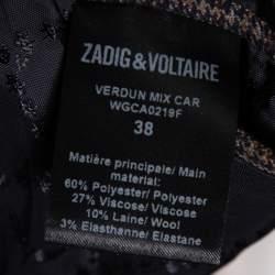 Zadig & Voltaire Brown Wool Blend Verdun Mix Check Patterned Blazer M