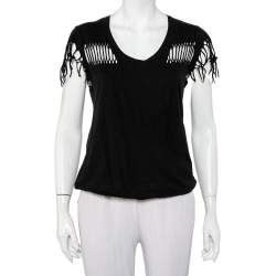 Zadig & Voltaire Black Cotton Scoop Neck Wanda Fringes T-Shirt XS