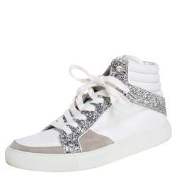 Zadig and Voltaire White/Grey Canvas and Suede Glitter High Top Sneakers Size 40