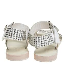 Zadig And Voltaire White Spike Embellished Leather Flat Sandals Size 40