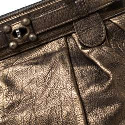 Zagliani Gold/Black Leather Puffy Hobo