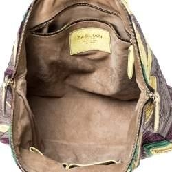 Zagliani Multicolor Woven Leather and Python Tomodachi Satchel