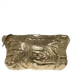 Zagliani Gold Metallic Python Top Zip Clutch