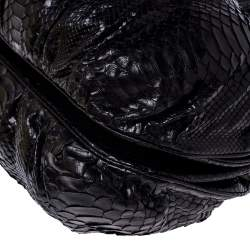 Zagliani Metallic Black Python Puffy Hobo