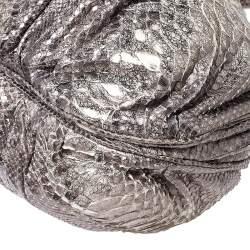 Zagliani Cream/Black Metallic Python Puffy Hobo