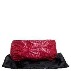 Zagliani Red Python Leather Flash Clutch