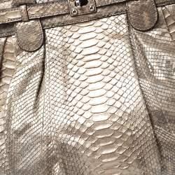 Zagliani Metallic Gold Python Puffy Hobo