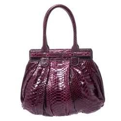 Zagliani Burgandy Python Small Puffy Bag