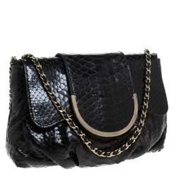 Zagliani Black Python Shoulder Bag