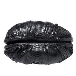 Zagliani Black Python Puffy Hobo
