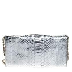 Zagliani Silver Python Envelope Flap Chain Shoulder Bag