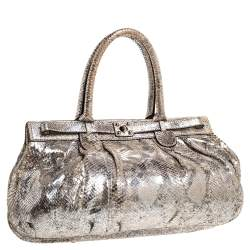 Zagliani Metallic Silver Python Puffy Hobo