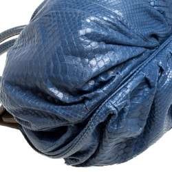 Zagliani Blue Python Puffy Hobo