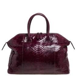 Zagliani Red Python Tomodachi Weekender Bag