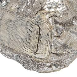 Zagliani Silver Python Top Zip Tote