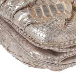Zagliani Silver Python Turnlock Clutch