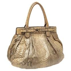 Zagliani Metallic Gold Python Puffy Hobo