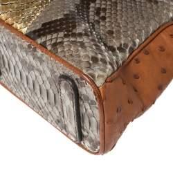 Zagliani Multicolor Python and Ostrich Mini Tomodachi Bag
