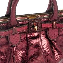 Zagliani Metallic Magenta Python Mini Puffy Bag