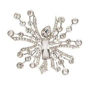 Oscar de la Renta Abstract Crystal Silver Tone Brooch