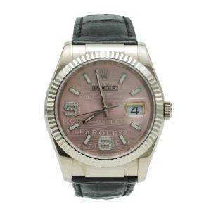 Rolex White Gold Date-Just Diamond Pink Dial Watch 36MM