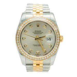 Rolex Date-Just Silver Dial Steel & Yellow Gold Diamond Watch 36MM