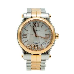 Chopard Happy Sport White MOP Diamond Dial Steel & Rose Gold Women's Watch 36MM