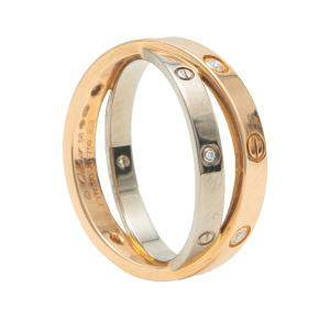 Cartier Love White & Rose Gold 6 Diamond Double Band Ring Size 58