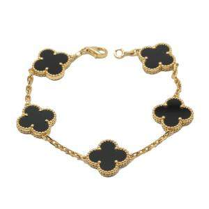 Van Cleef & Arpels Vintage Alhambra Onyx Yellow Gold Bracelet