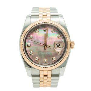 Rolex Date-Just Black MOP Diamond Dial Steel & Rose Gold Watch 36MM