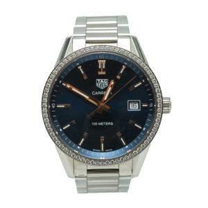Tag Heuer Navy Blue Carrera Stainless Steel Diamond Watch 39MM