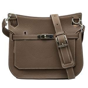Hermes Brown Jypsiere Silver Hardware Bag Size 28