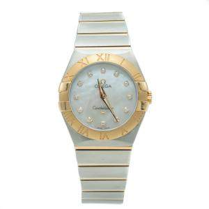 Omega Constellation Steel & Yellow Gold White Mother of Pearl Diamond Women's Watch 27MM