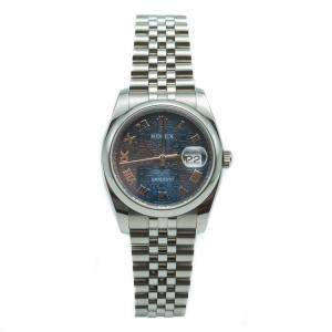 Rolex Date-Just Navy Blue Jubilee Dial Stainless Steel Watch 36MM