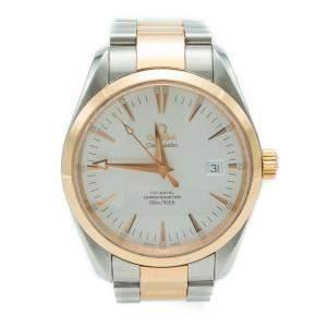 Omega White Seamaster Aqua Terra Steel & Rose Gold Watch 39MM